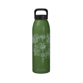 Floral, verde elegantes y aguamarina botellas de agua reutilizables