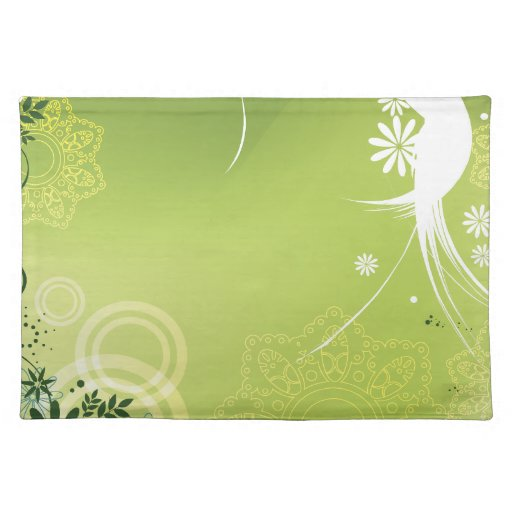 Floral verde moderno mantel individual