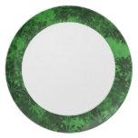 Floral verde platos para fiestas