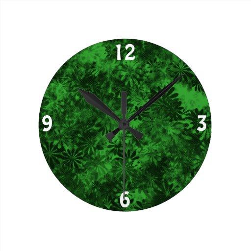 Floral verde relojes de pared
