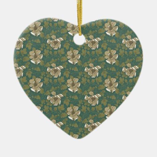Floral verde retro adorno de cerámica en forma de corazón