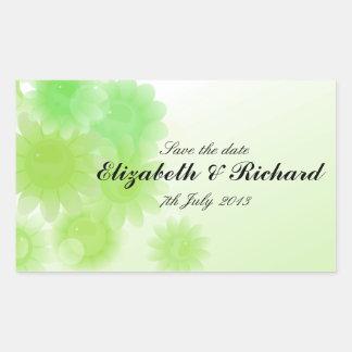 Floral verde romántico reserva pegatina de la fec