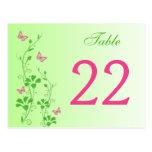Floral verde rosado con número de la tabla de mari postal