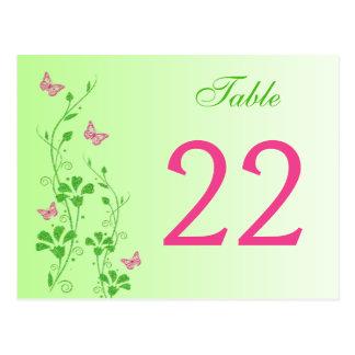 Floral verde rosado con número de la tabla de postal