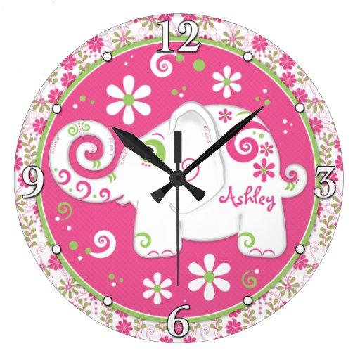 Floral verde rosado del elefante blanco personaliz relojes