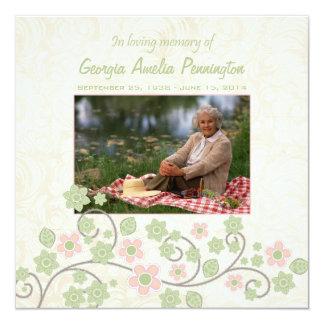 """Floral verde rosado en tarjeta plana de la foto invitación 5.25"""" x 5.25"""""""