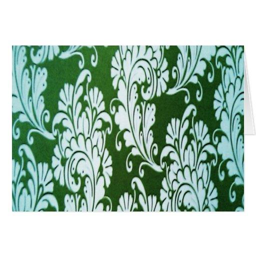 Floral verde y blanco tarjeta de felicitación