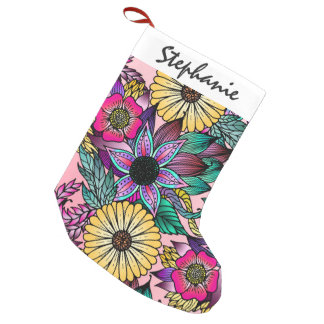 Floral Vibrant Hand Drawn Illustrated Flowers Small Christmas Stocking