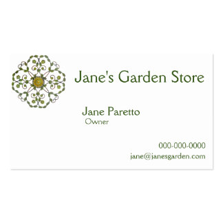 floral vine flower design pattern - green yellow Double-Sided standard business cards (Pack of 100)