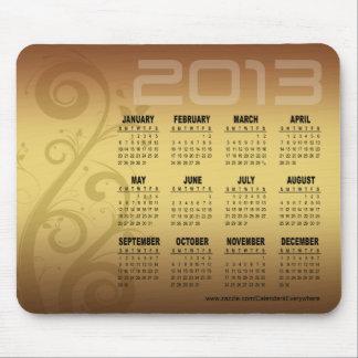 Floral Vines 2013 Calendar Mousepad gold
