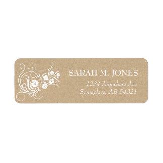 Floral Vines Kraft Paper Address Label