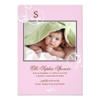 Floral Vines Monogram Photo Birth Announcement