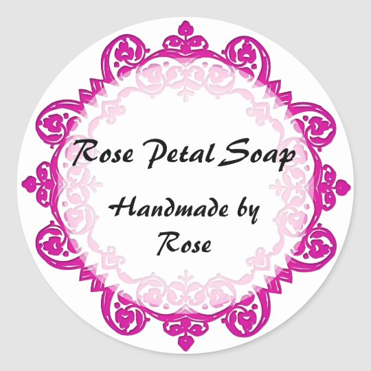 Floral Vintage Art Handmade Soap Labels Pink