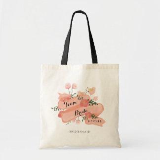 Floral Vintage Banner Team Bride Bridesmaid Budget Tote Bag
