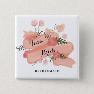 Floral Vintage Banner Team Bride Bridesmaid Button