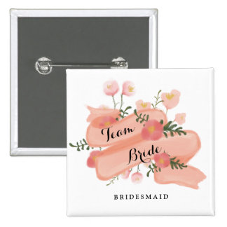 Floral Vintage Banner Team Bride Bridesmaid Button