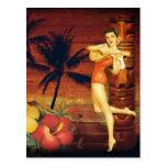 Floral vintage beach hawaii fashion post card