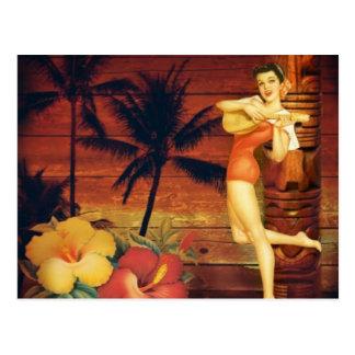 Floral vintage beach hawaii fashion postcard