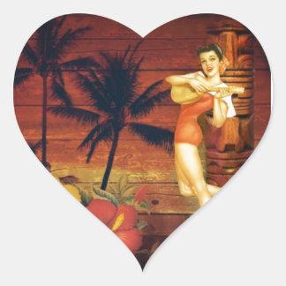 Floral vintage beach hawaii fashion heart sticker