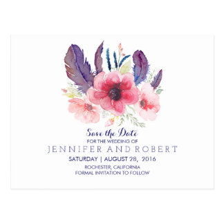 Floral Vintage Boho Feathers Save the Date Postcard