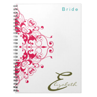 Floral Vintage Bride Red Personalized Notebook