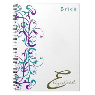 Floral Vintage Bride Violet Teal Personalized Notebook