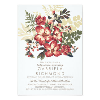 Floral Vintage Burgundy Baby Shower Card