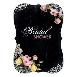 floral vintage Chalkboard bridal shower tea party 5x7 Paper Invitation Card