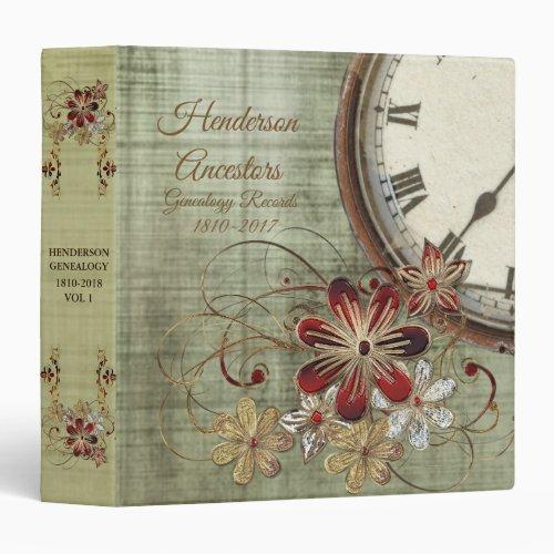 Floral Vintage Clock Genealogy 3 Ring Binder