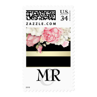 Floral Vintage Gold Stripes White Wedding Postage