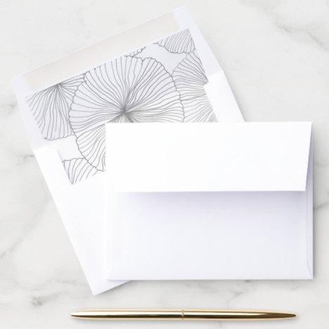 Floral, vintage, grey wedding envelope envelope liner