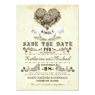 floral vintage heart unique save the date cards