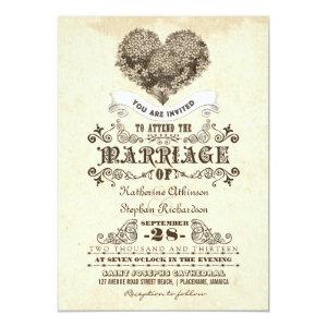 floral vintage heart wedding invitations 5