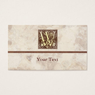 Floral Vintage Initial W Business Card