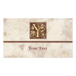 Floral Vintage Initial Y Double-Sided Standard Business Cards (Pack Of 100)