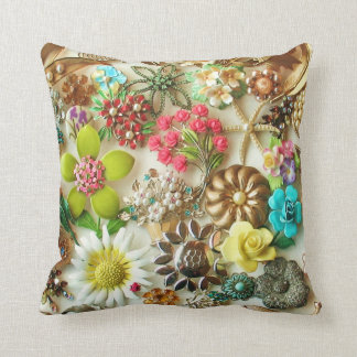 Floral Vintage Jewelry Collage Design Pillow
