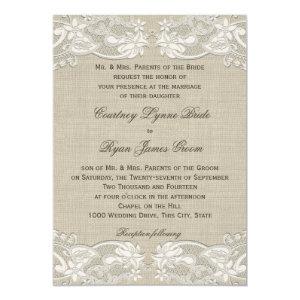 Floral Vintage Lace Design Wedding 5x7 Paper Invitation Card