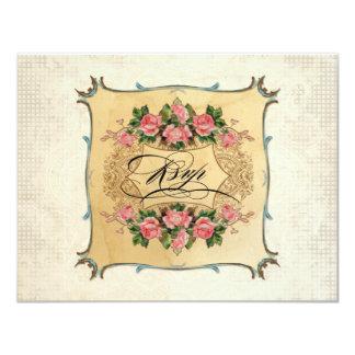 Floral Vintage Modern Pink Roses Love Birds Swirls 4.25x5.5 Paper Invitation Card
