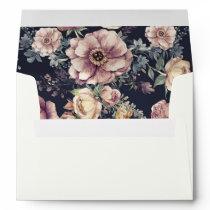 Floral Vintage   Navy and Mauve Watercolor Wedding Envelope