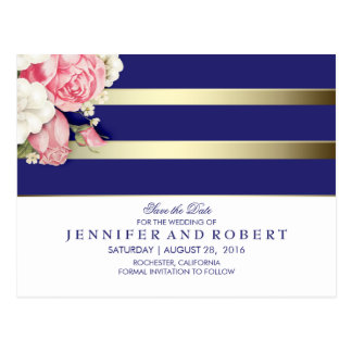 Floral Vintage Navy White and Gold Save the Date Postcard