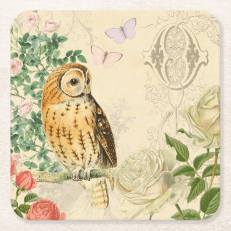 Floral vintage owl coaster with beautiful roses