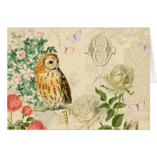 Floral vintage owl greeting card with roses
