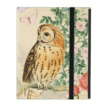 Floral vintage owl iPad case with beautiful roses
