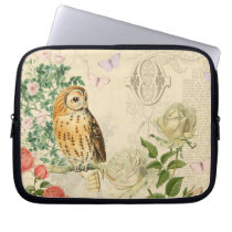 Floral vintage owl laptop sleeve with roses