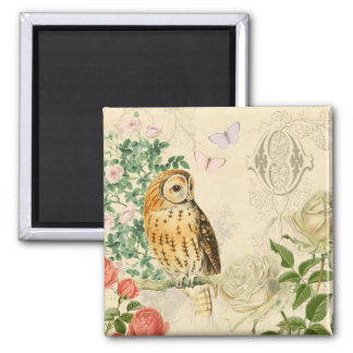 Floral vintage owl magnet with beautiful roses