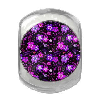 Floral vintage pattern purple and pink flowers jelly belly candy jar