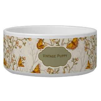 Floral Vintage Pattern with Butterflies Bowl