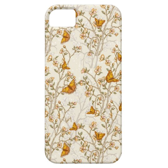 Floral Vintage Pattern with butterflies iPhone SE/5/5s Case