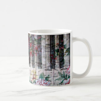 floral vintage pianist keyboard music coffee mug