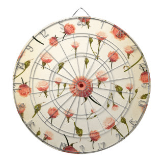 Floral vintage pink girly offwhite 1920s art deco dartboard with darts